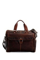 Jack Georges Voyager Top Zip Front Flap Leather Briefcase Brown
