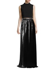 Aidan Mattox Ponte Top And Pleated Metallic Skirt Set Black Silver