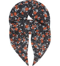 The Kooples Dotted Flower Print Scarf Black Red