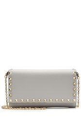 Valentino Rockstud Leather Wallet On Chain Grey