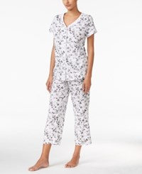 Charter Club Petite Loop Trimmed Top And Cropped Pants Pajama Set Only At Macy's Ivory And Black Botanical