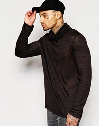 Asos Sheer Slub Jersey Longline Long Sleeve T Shirt With Funnel Neck Black