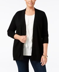 Charter Club Plus Size Cashmere Duster Cardigan Only At Macy's Classic Black