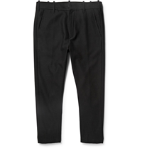 Ann Demeulemeester Slim Fit Cropped Hemp And Wool Blend Trousers Black