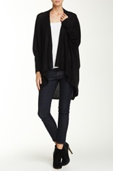 Sweet Romeo Open Front Mesh Stitch Cardigan Black