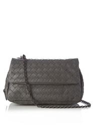 Bottega Veneta Intrecciato Leather Shoulder Bag Grey