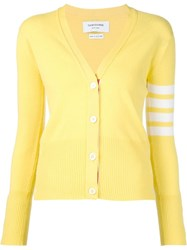 Thom Browne Striped Sleeve Cardigan Yellow And Orange