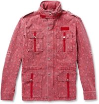 Michael Bastian Printed Cotton Blend Field Jacket Red
