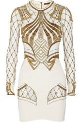 Sass And Bide The Royal One Embellished Mesh Paneled Stretch Silk Mini Dress White
