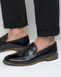 Asos Loafers In Black Leather With Natural Sole Black