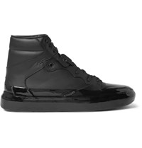 Balenciaga Rubberised Leather High Top Sneakers Black