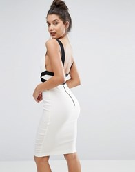 Vesper Sexy Contrast Pencil Dress With Low Back Cream Black