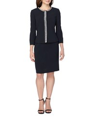 Tahari By Arthur S. Levine Crepe Pearl Embroidered Jacket And Skirt Suit Navy
