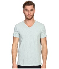 Vince Refined Slub V Neck T Shirt Heather Aqua