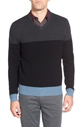 Ag Jeans Men's Ag 'Admiral' Colorblock Wool And Cashmere V Neck Sweater Caviar