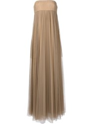 Vera Wang Strapless Empire Waist Gown Brown