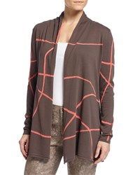 Lafayette 148 New York Long Sleeve Cardigan W Crisscross Lines Granite Multi