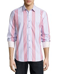 Robert Graham Kinvara Long Sleeve Striped Sport Shirt Lilac Purple