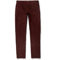 Incotex Slim Fit Textured Stretch Cotton Trousers Burgundy