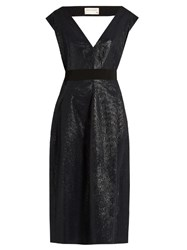 Maison Rabih Kayrouz V Neck Striped Gown Navy