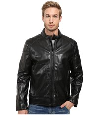 Marc New York Sedgwick Faux Leather Moto Jacket Black Men's Coat