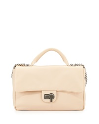 Charles Jourdan Vogue Flap Top Leather Shoulder Bag Cream