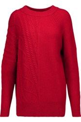 Autumn Cashmere Cable Knit Sweater Claret