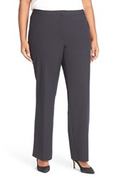Sejour Plus Size Women's 'Ela' Stretch Curvy Fit Wide Leg Suit Pants Navy Midnight