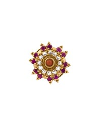 Yvonne Leon 18K Yellow Gold Ruby And Diamond Stud Earring Yellow Ruby Coral Stone