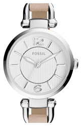 Fossil 'Georgia' Round Leather Strap Watch 26Mm White Silver