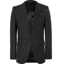 Alexander Mcqueen Black Slim Fit Polka Dot Virgin Wool Suit Jacket Black