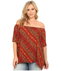 Vince Camuto Plus Plus Size Serengeti Short Sleeve Maasai Tribal Off The Shoulder Peasant Top Tigerlilly Women's Short Sleeve Pullover Orange