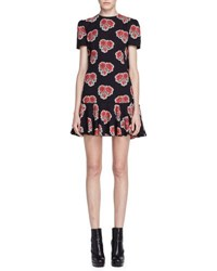 Alexander Mcqueen Short Sleeve Poppy Print Cape Back Dress Black Red Black Red