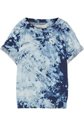 Current Elliott The Rolled Sleeve Tie Dyed Cotton Terry Sweatshirt Blue