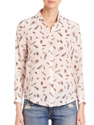 The Kooples Feather Print Silk Shirt Ecru