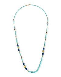 Long Mixed Bead Single Strand Necklace Turquoise Chan Luu