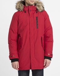 Schott Nyc Red Manhattan Removable Fur Lined Parka