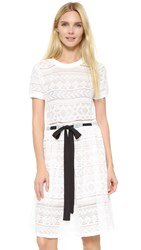 English Factory Lace Tie Dress White Black