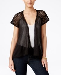 Styleandco. Style Co. Sheer Open Front Cardigan Only At Macy's Deep Black