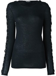 Balmain Laced Long Sleeve T Shirt Black