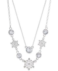 Charter Club Silver Tone Layered Crystal Snowflake Necklace Only At Macy's