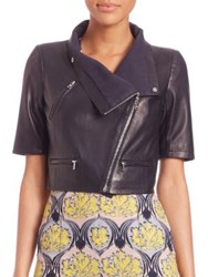 Yigal Azrouel Short Sleeve Leather Jacket Black