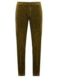 Massimo Alba Mid Rise Cotton Velvet Trousers Khaki