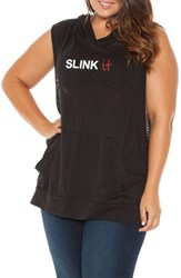 Plus Size Women's Slink Jeans Sleeveless Graphic Pullover Hoodie Black Silver