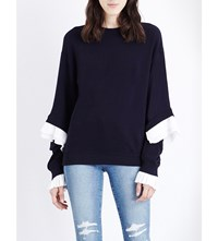 Clu Frilled Cotton Jersey Sweatshirt Navy White