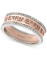 Effy Final Call Diamond Band 1 4 Ct. T.W. In 14K White And Rose Gold Two Tone