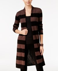 Inc International Concepts Striped Open Front Cardigan Only At Macy's Mouse Black