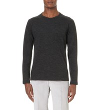 Richard James Crewneck Wool And Cotton Blend Jumper Grey