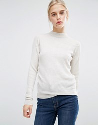 Monki Rib Knit High Neck Jumper Nude Black