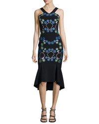 Peter Pilotto Embroidered Cady Halter Neck Dress Black